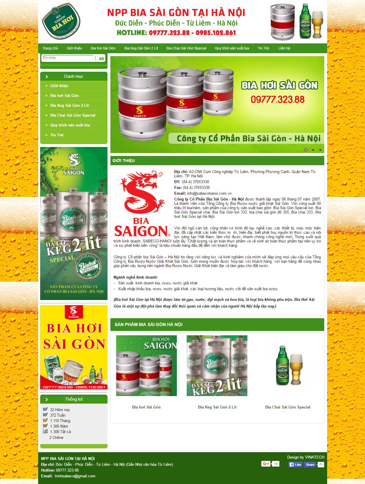 Thiết kế web giá rẻ bia, rượu, nước giải khát