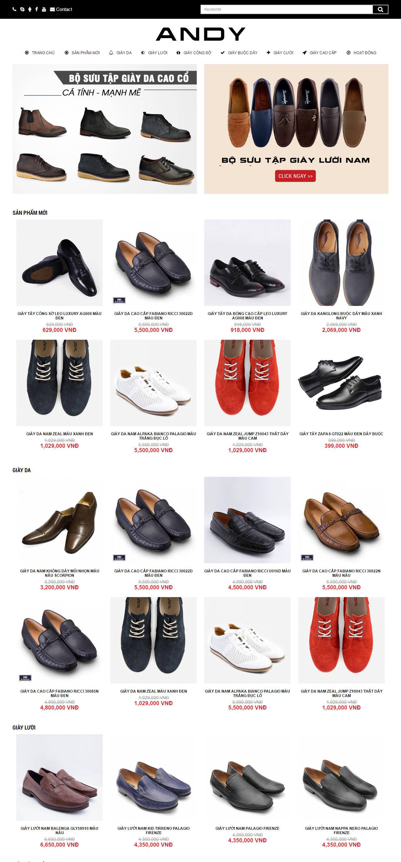 Thiết kế web giá rẻ bán giày dép