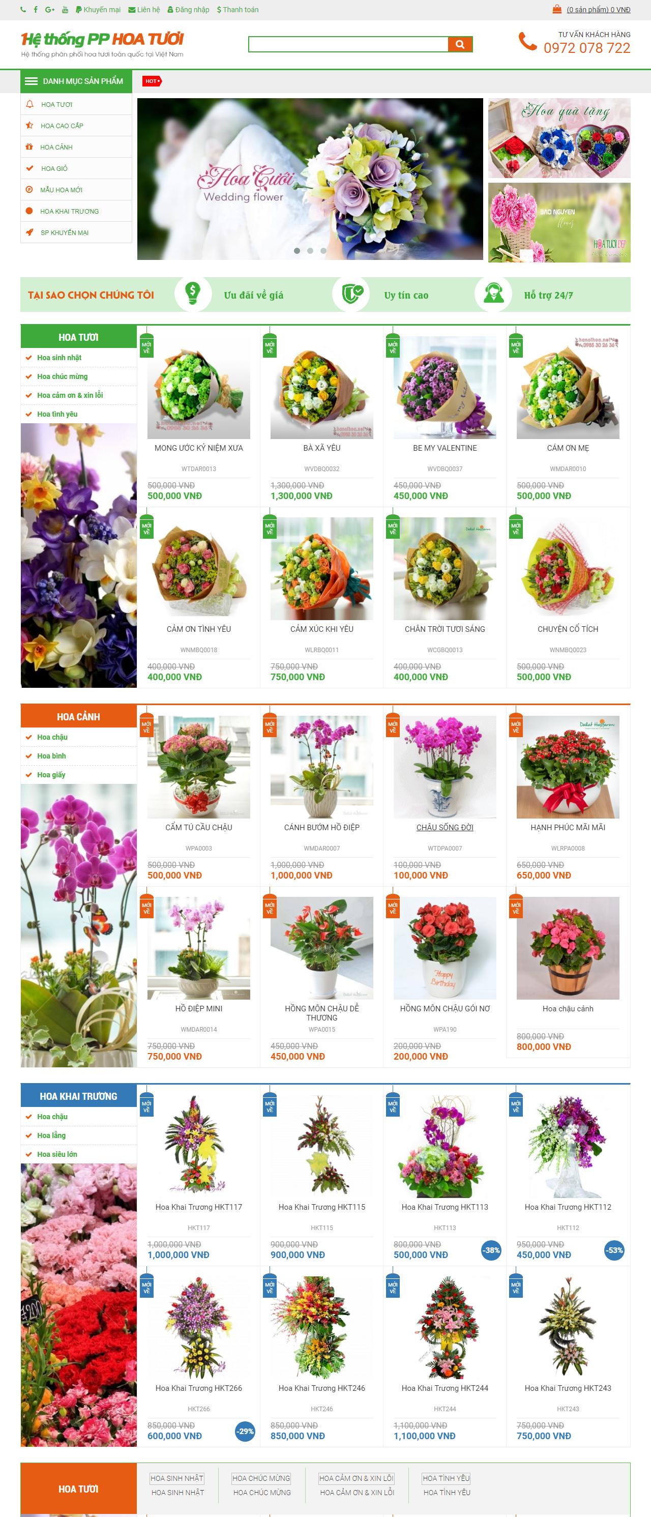 Thiết kế web giá rẻ hoa tươi