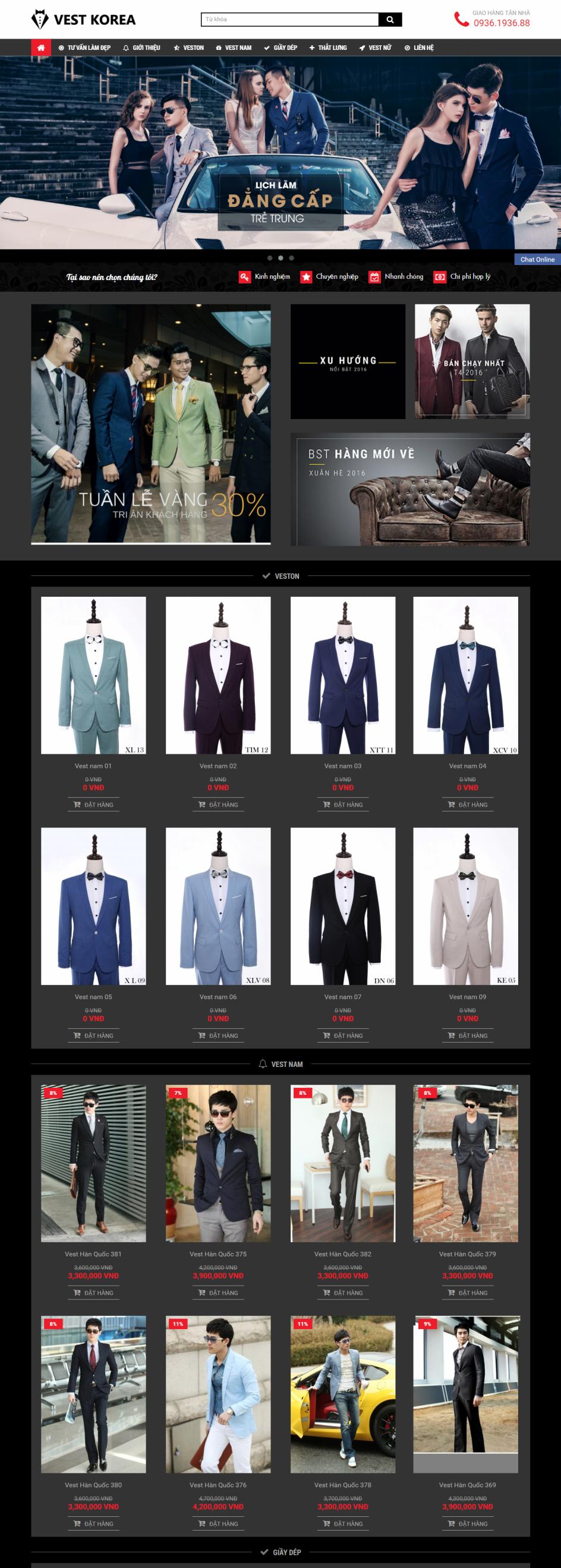 Thiết kế web giá rẻ thời trang nam