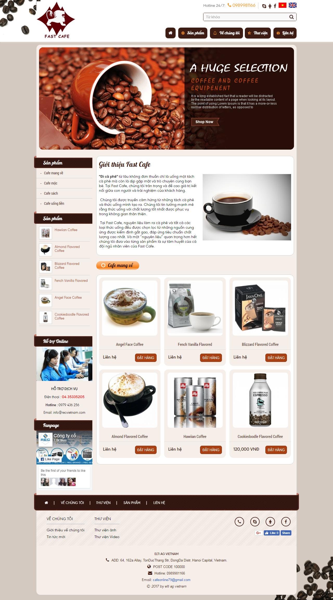 web giá rẻ cafe