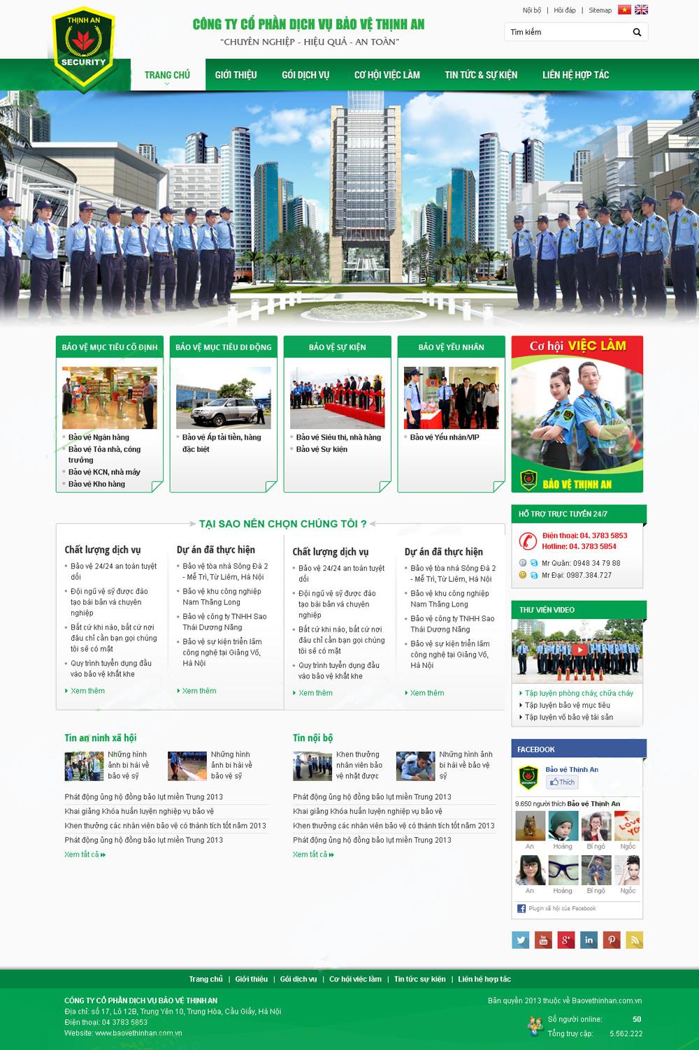 Thiết kế web giá rẻ dịch vụ bảo vệ