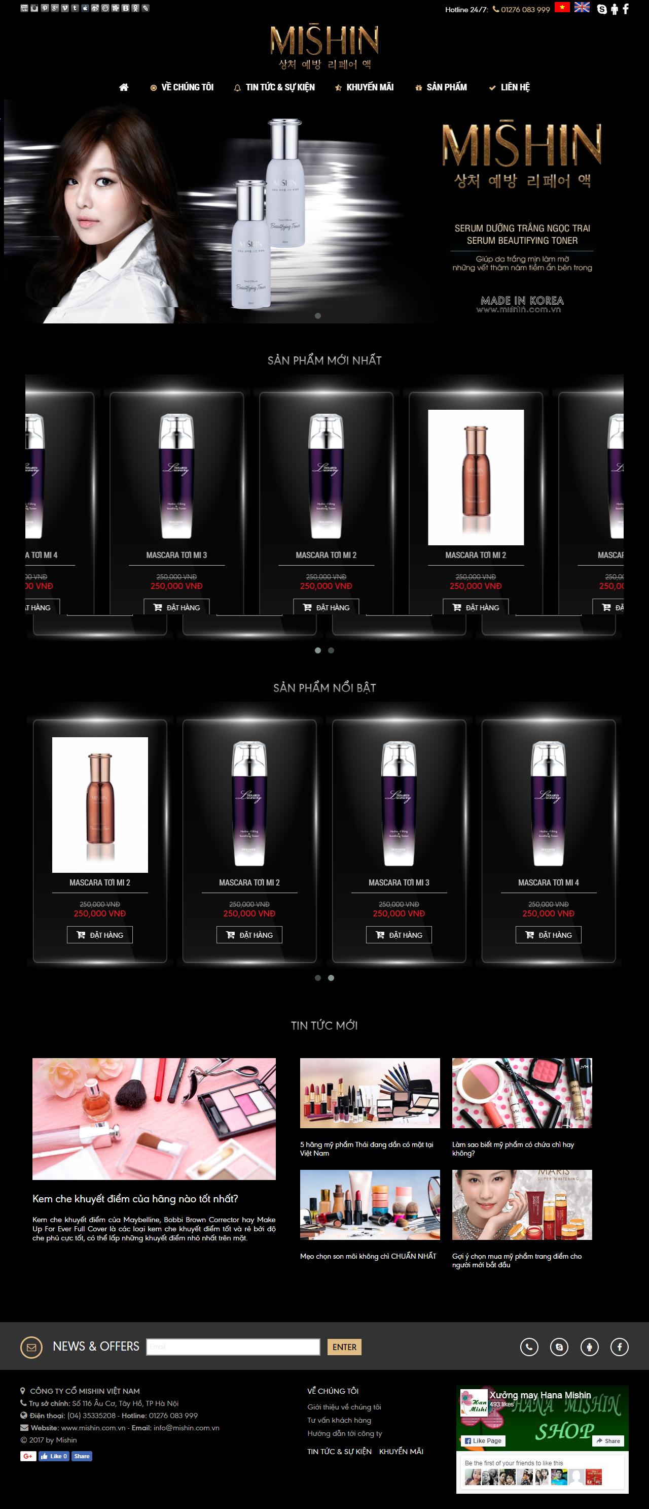 Thiết kế web giá rẻ mỹ phẩm, nước hoa