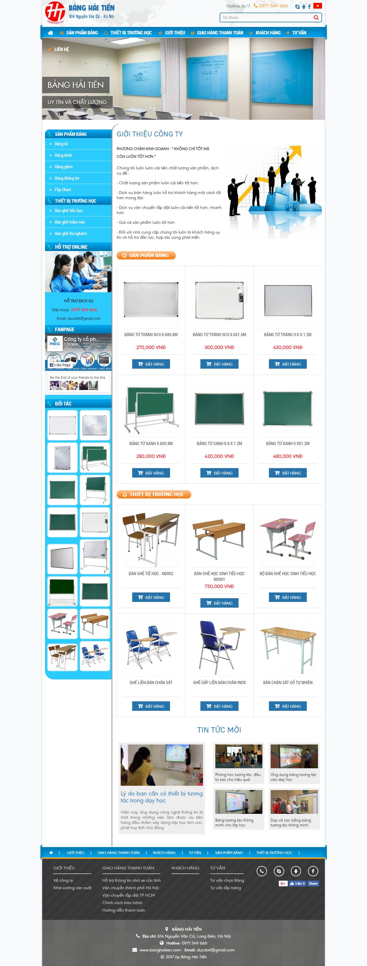 Thiết kế web giá rẻ nội thất trường học