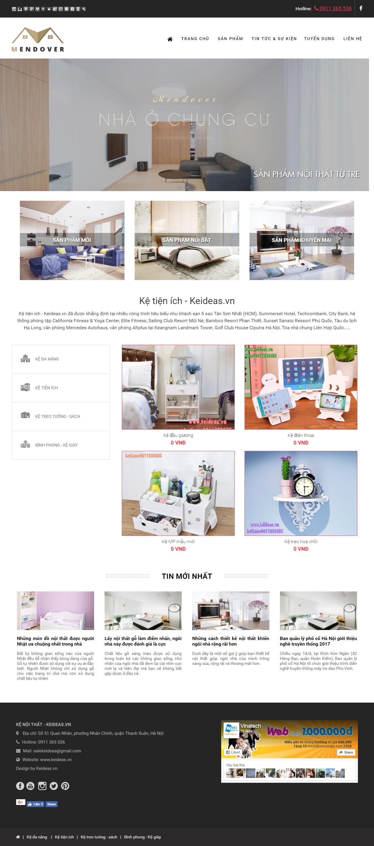 Thiết kế web giá rẻ nội thất