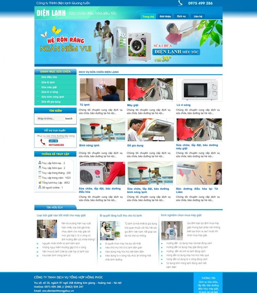 Thiết kế web giá rẻ sửa chữa điện lạnh