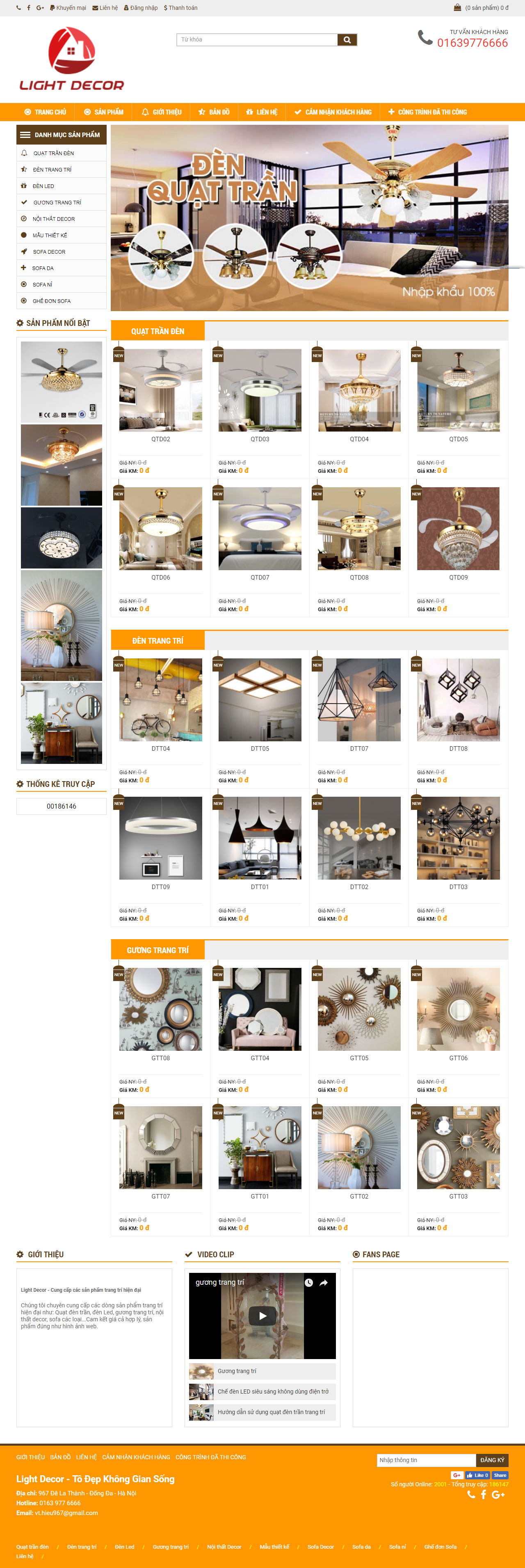 Thiết kế web giá rẻ bán quạt điện