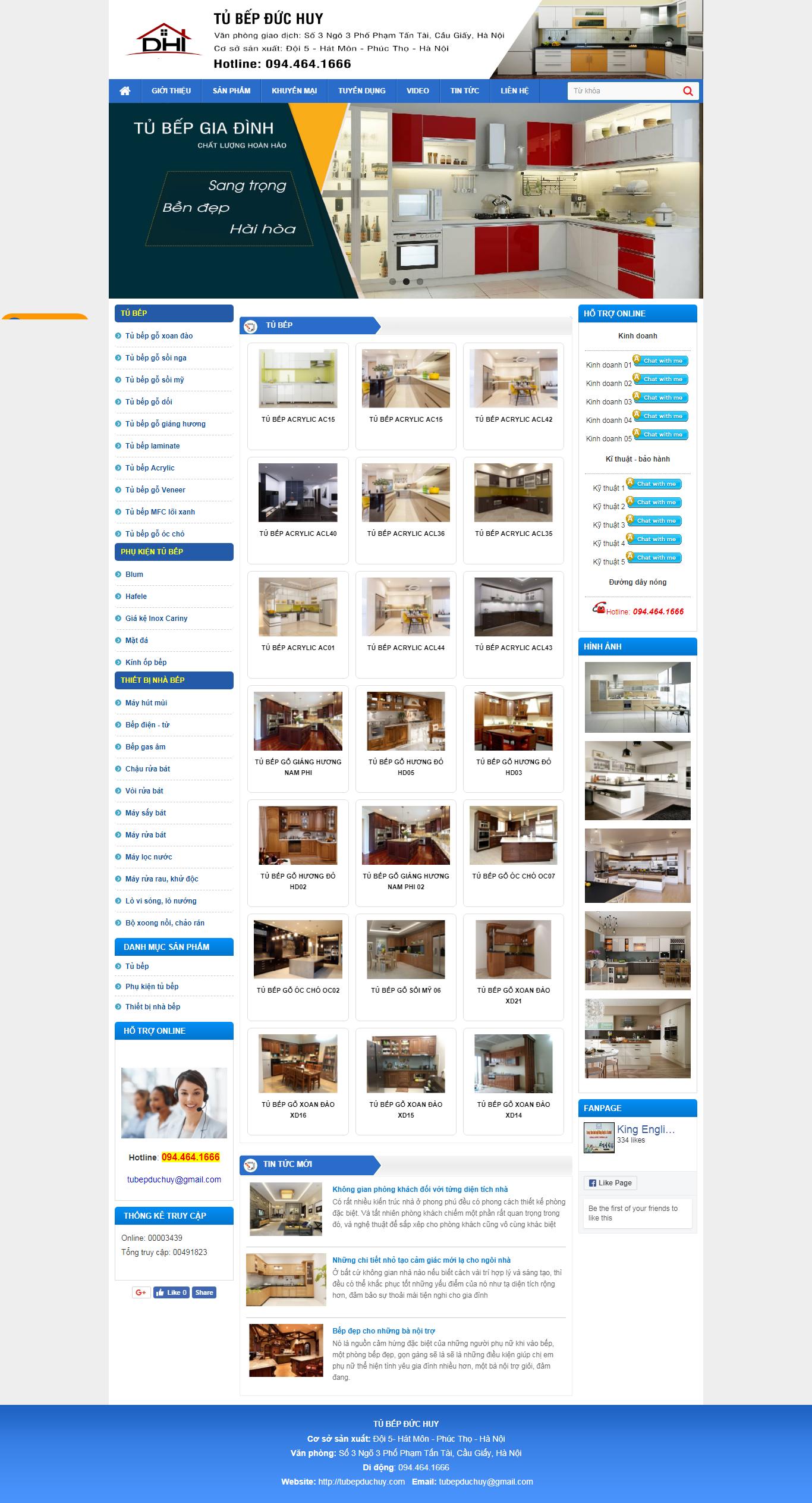 thiết kế web giá rẻ tủ bếp