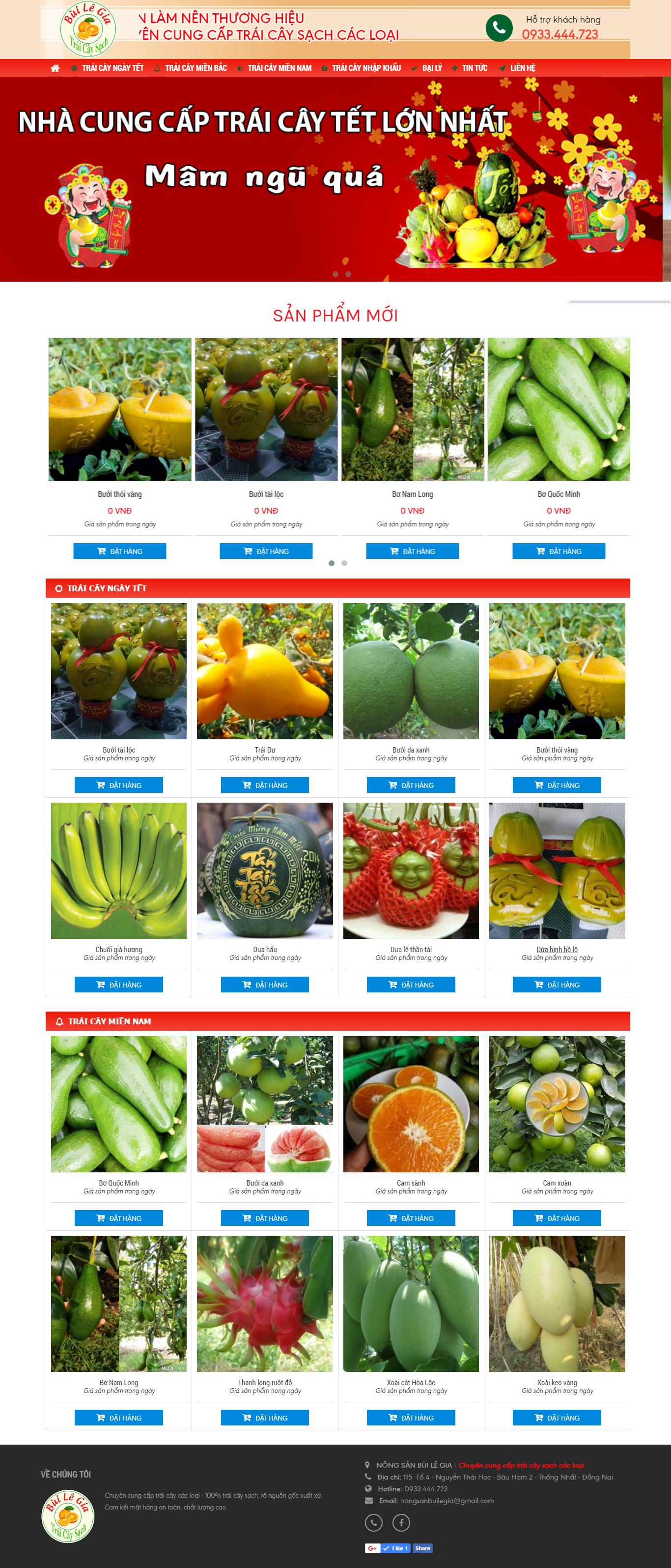 thiết kế web giá rẻ nông sản