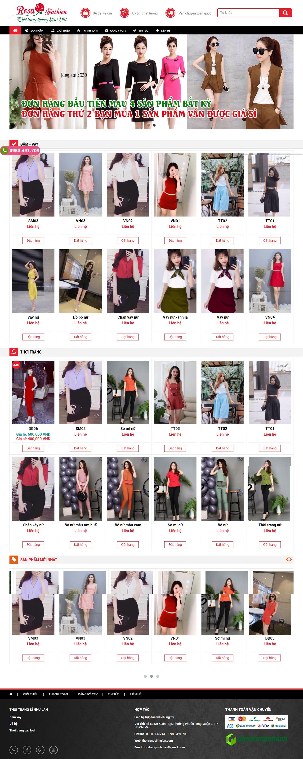 thiết kế web giá rẻ thời trang nữ