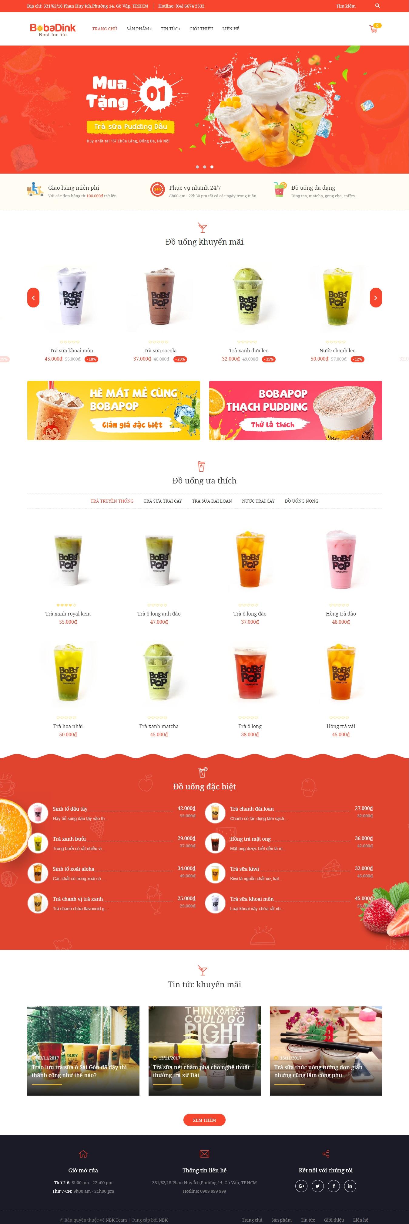 thiết kế web giá rẻ bán trà sữa