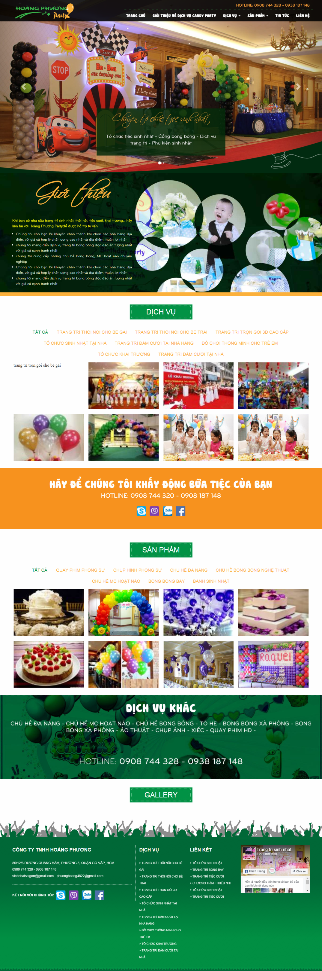 thiết kế web giá rẻ đồ trang trí tiệc