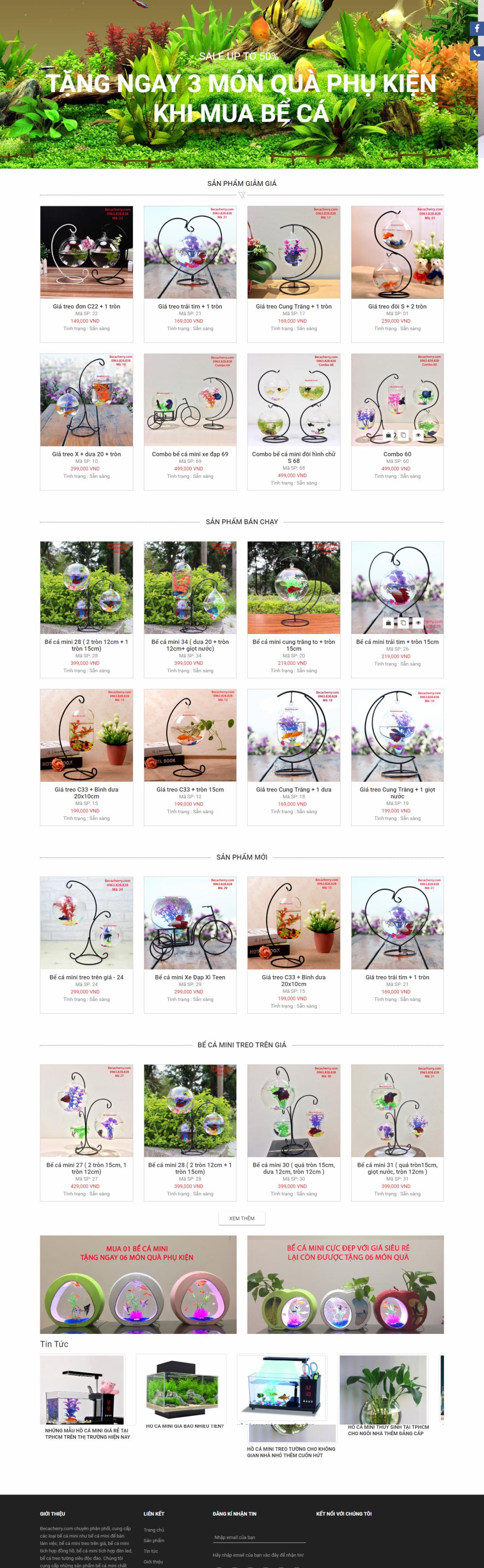 thiết kế web giá rẻ bể cá cảnh
