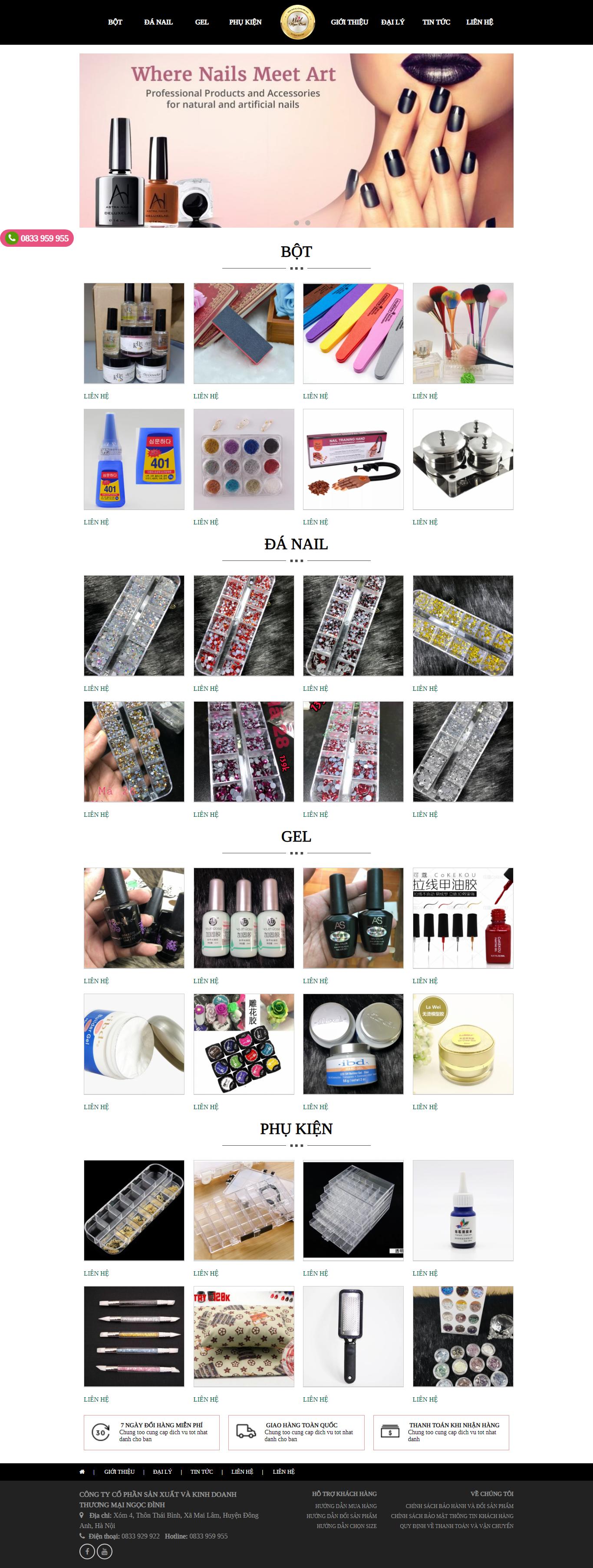Thiết kế web giá rẻ tiệm nail