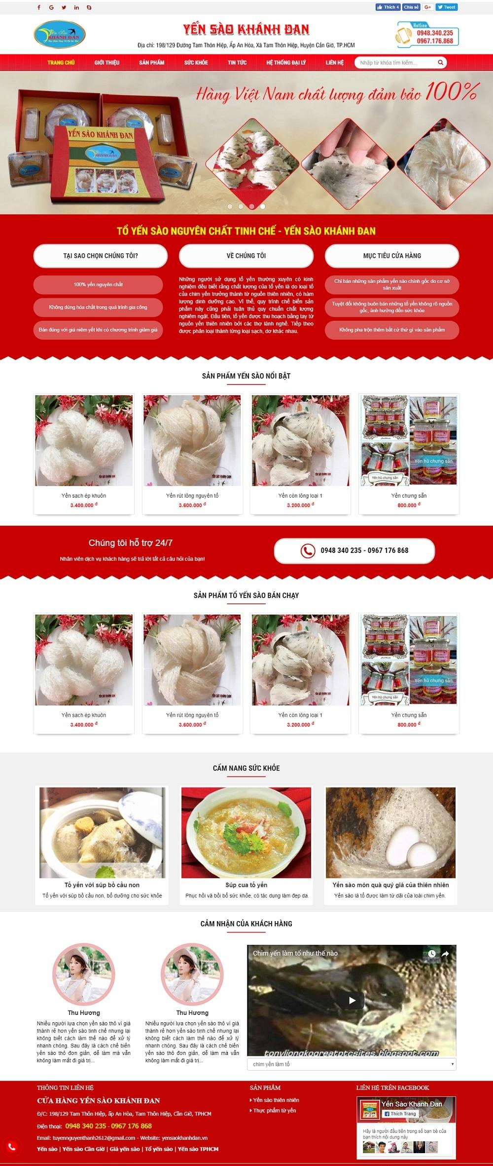 thiết kế web giá rẻ bán yến sào