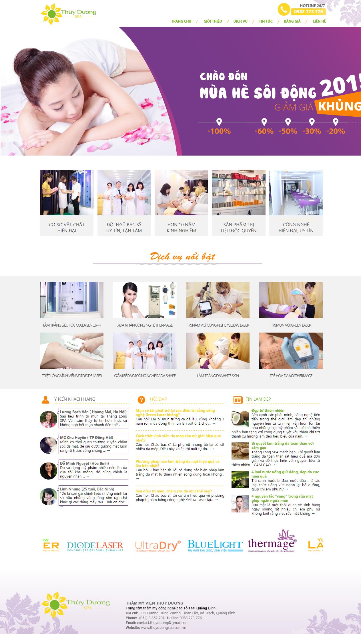 Thiết kế web giá rẻ làm đẹp, spa