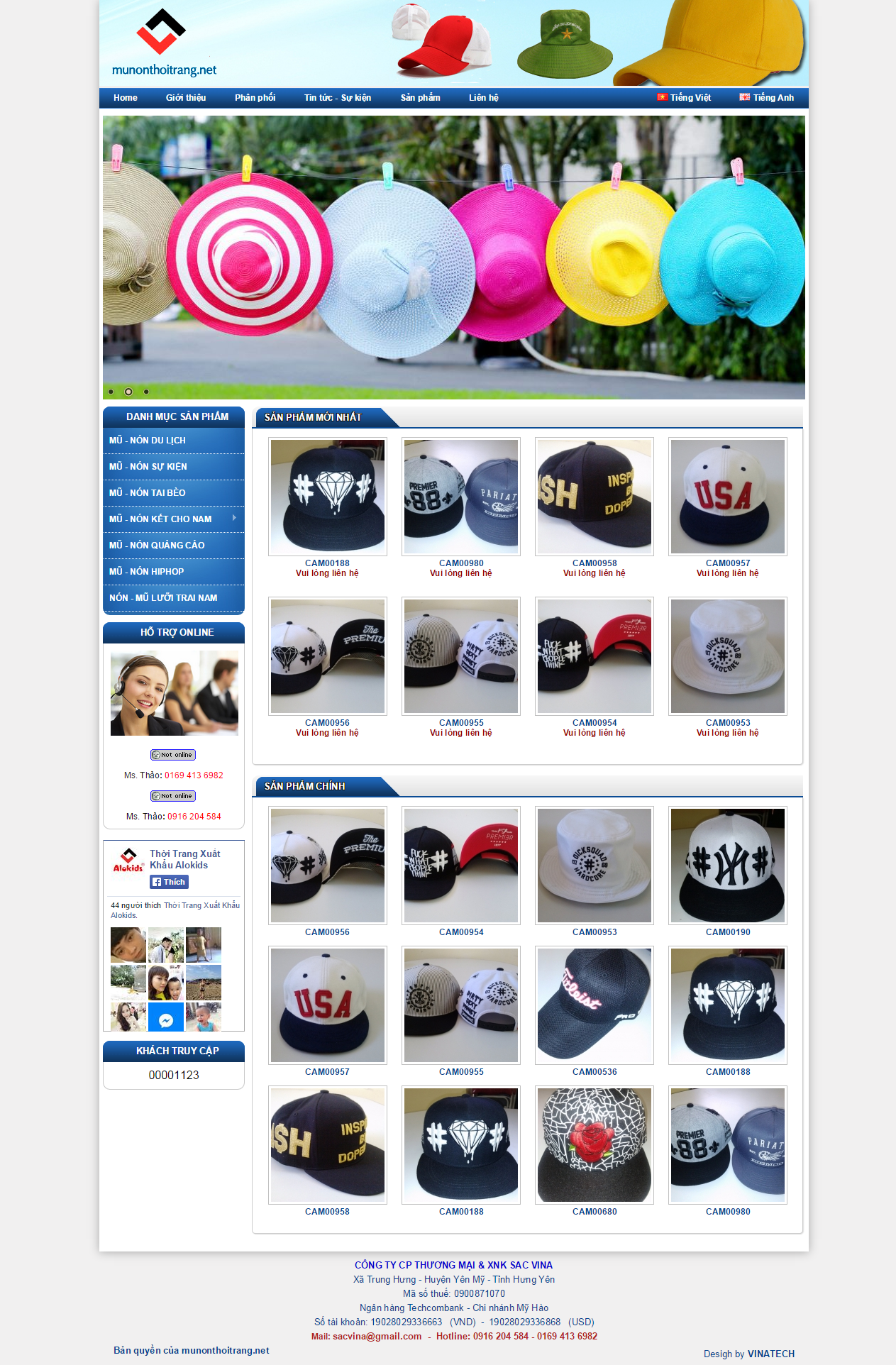Thiết kế web giá rẻ mũ nón thời trang