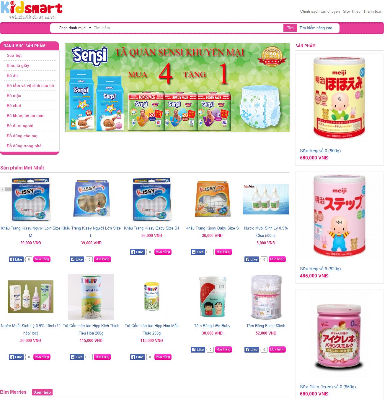 Thiết kế web giá rẻ sữa bột sữa trẻ em