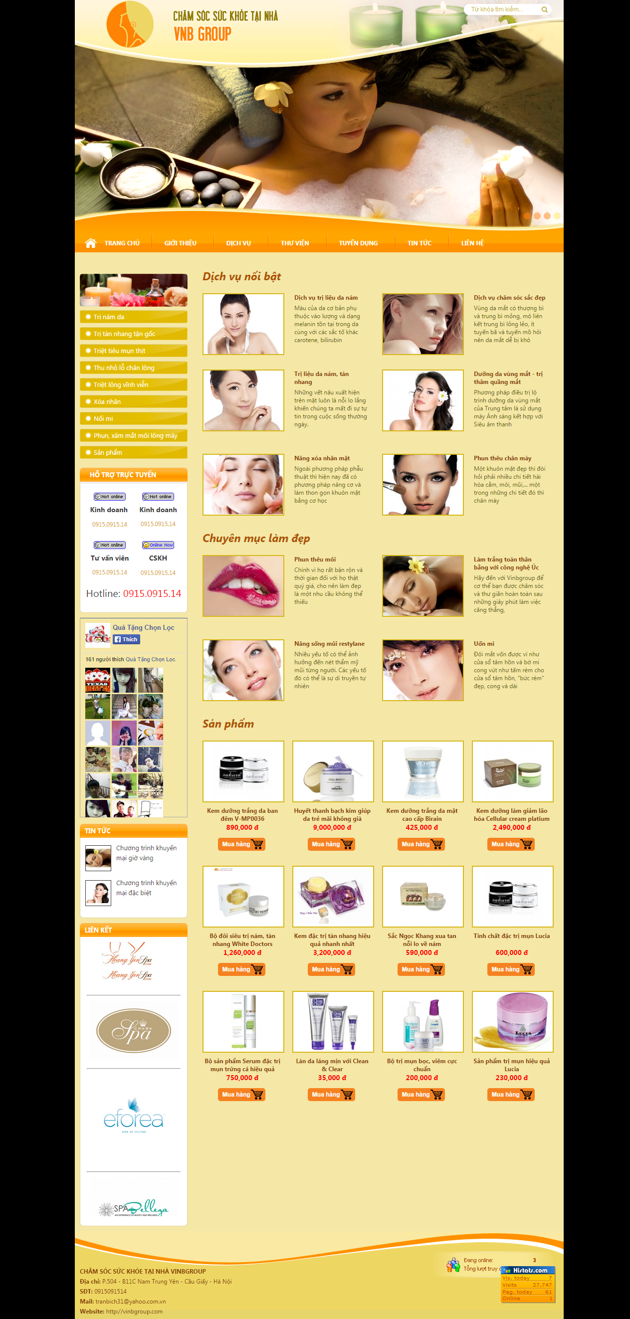 Thiết kế web giá rẻ spa, thẩm mỹ viện