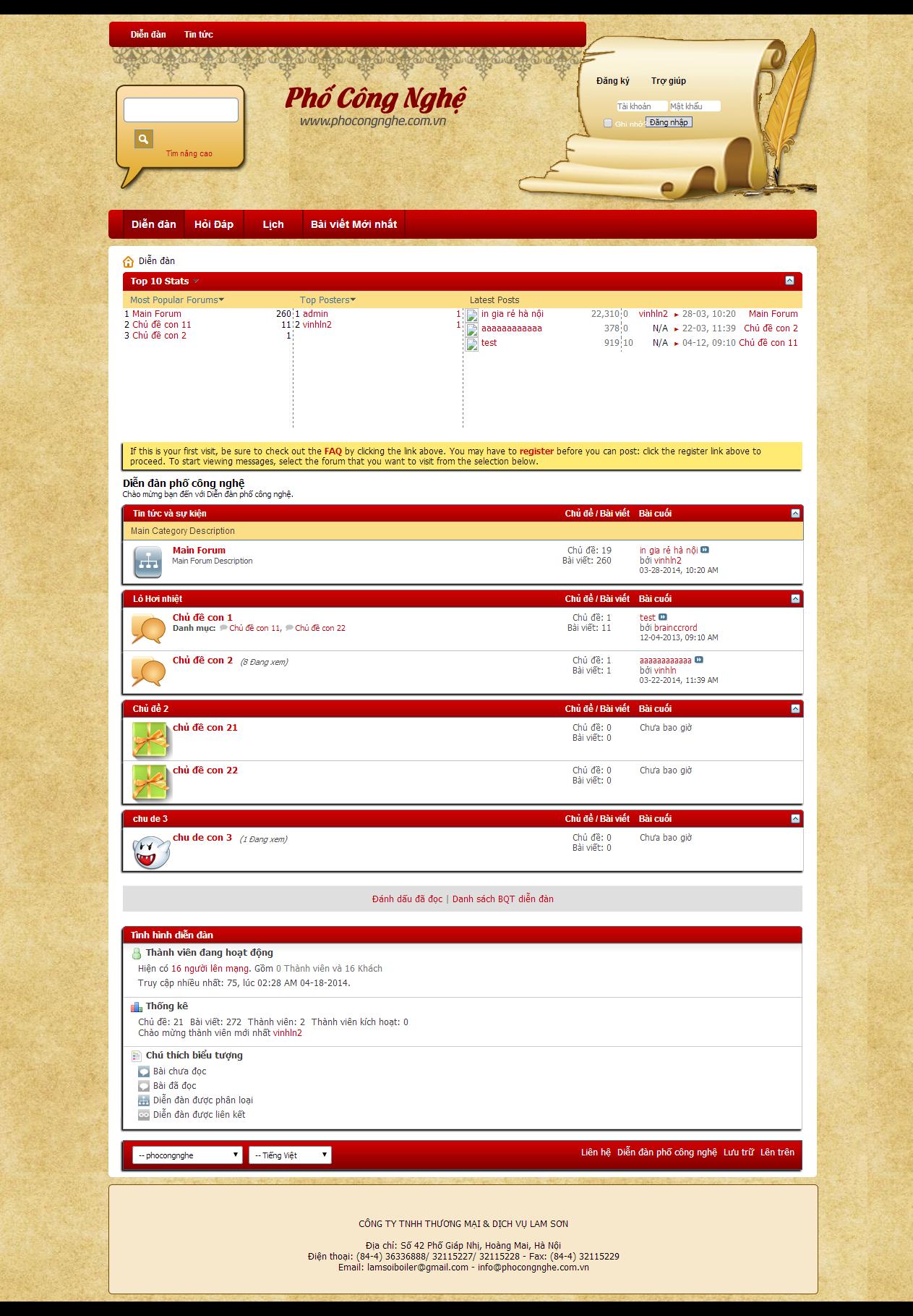 thiết kế web giá rẻ diễn đàn 1